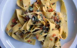 Recipe:  Pappardelle with Zucchini Blossom* Sauce