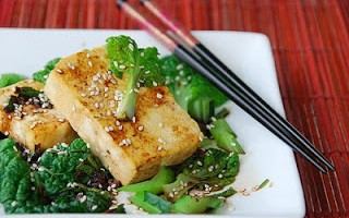 Gingery Sauteed Tat-Soi with Tofu Steaks