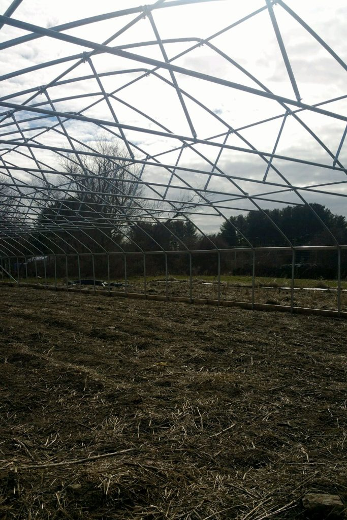 high tunnel construction | Blue Skys Farm | local food RI