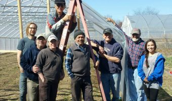 high tunnel construction | Blue Skys Farm volunteers | Cranston, RI