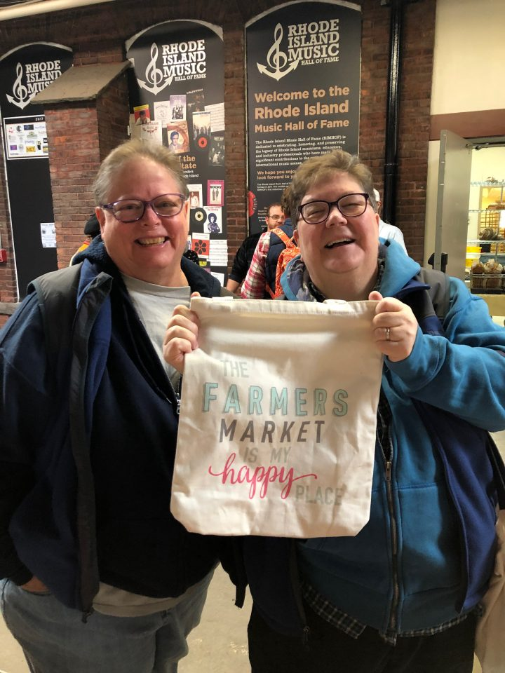 Nancy and Mev. Best farmers market shoppers ever!